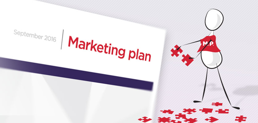 Image of a figure building a marketing plan with puzzle pieces.