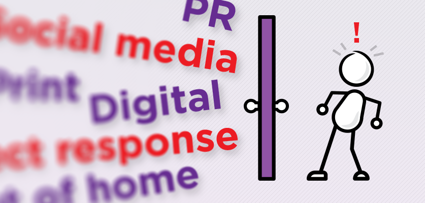 image of marketing words and marketer separated by a door