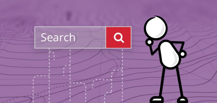 An illustration of a character looking at a search bar