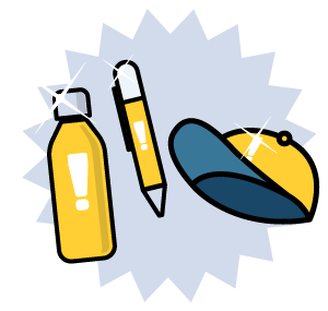 An illustration of a branded water bottle, pen, and hat